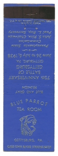 GETTYSBURG 75TH ANNIVERSARY SOUVENIR MATCHBOOK COVER – BLUE PARROT TEA ROOM