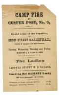 "G.A.R. HANDBILL - ""CAMP FIRE BY CUSTER POST. NO. 6….OF BALTIMORE CITY.."""