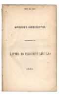 CONFEDERATE IMPRINT - Letcher, John. GOVERNOR'S COMMUNICATION TRANSMITTING HIS LETTER TO PRESIDENT LINCOLN, 1863