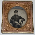 SIXTH PLATE TINTYPE OF 15TH PENNSYLVANIA CAVALRY PRIVATE