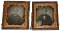 MATCHING FULL CASE SIXTH PLATE DAGUERREOTYPES OF OLDER MAN AND WOMAN, CIRCA 1852