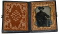 NINTH PLATE AMBROTYPE OF 15TH PENNSYLVANIA CAVALRY PRIVATE WITH SLIGHT DAMAGE