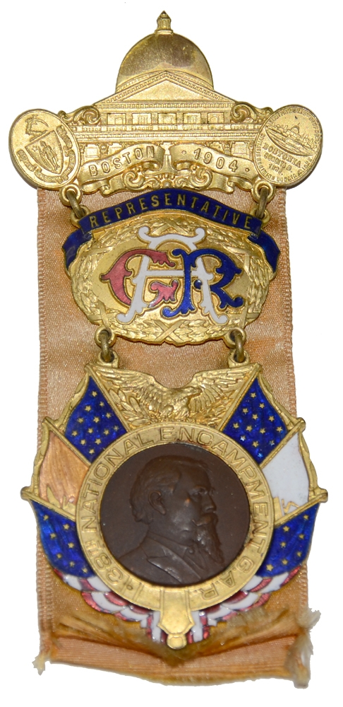 1904 BADGE FOR THE 38TH NATIONAL ENCAMPMENT OF THE GAR
