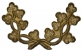 STAMPED BRASS IRISH SHAMROCK WREATH INSIGNIA