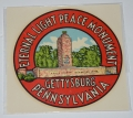 GETTYSBURG SOUVENIR PEACE LIGHT MONUMENT DECAL, CIRCA 1940'S