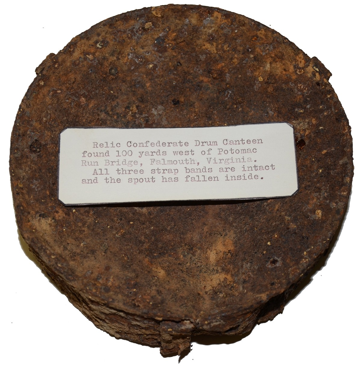 RELIC CONFEDERATE DRUM CANTEEN FROM FALMOUTH