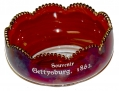VINTAGE GETTYSBURG RUBY FLASH GLASS SOUVENIR CANDY BOWL