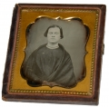 SIXTH PLATE DAGUERREOTYPE OF YOUNG LADY WITH SHAWL & CHOKER