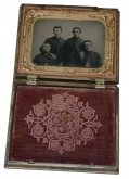 "1/6 PLATE TINTYPE OF FOUR CIVIL WAR ""PARDS"