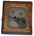 SIXTH PLATE TINTYPE OF TWO SEATED WOMEN