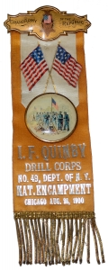 1900 GAR NATIONAL ENCAMPMENT RIBBON, I.F. QUINBY DRILL CORPS