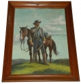 PAINTING OF A CONFEDERATE CAVALRYMAN BY FAMED SUPERMAN / BATMAN ARTIST FRED RAY