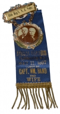 11th NEW JERSEY REUNION RIBBON SHOWING CAPT. HAND, WOUNDED AT GETTYSBURG