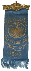 NEW YORK VETERAN OF GETTYSBURG RIBBON FOR THE DEDICATION OF THE STATE MONUMENT ON NEW YORK DAY 1893