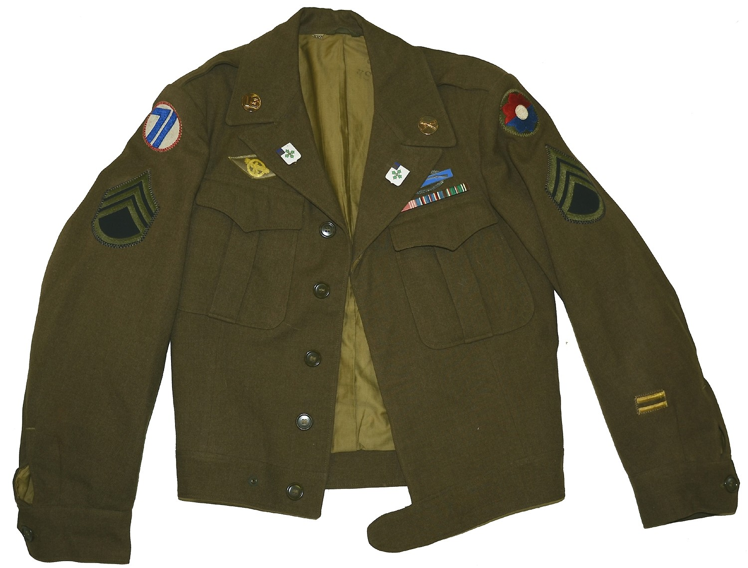 WORLD WAR TWO US IKE JACKET IDENTIFIED TO 9TH INFANTRY DIVISION SOLDIER WITH GERMAN MADE DISTINCTIVE UNIT INSIGNIA