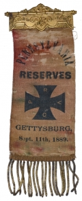 1889 GETTYSBURG RIBBON FOR THE PENNSYLVANIA VOLUNTEER RESERVE CORPS
