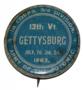 GETTYSBURG REUNION CELLULOID CORPS BADGE PIN OF THE 13th VERMONT