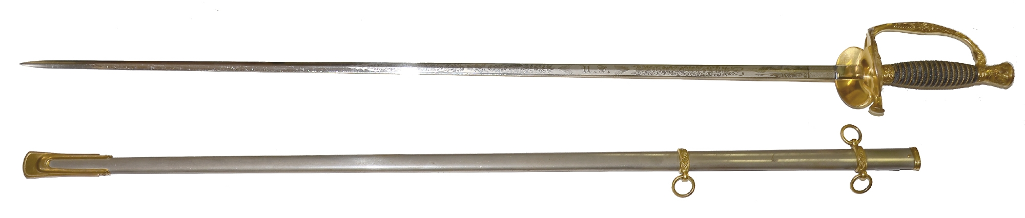 MINTY 1860 STAFF AND FIELD / 1872 STAFF AND LINE OFFICER'S SWORD BY SPRINGFIELD ARMORY WITH GILT AND VIVID ETCHING