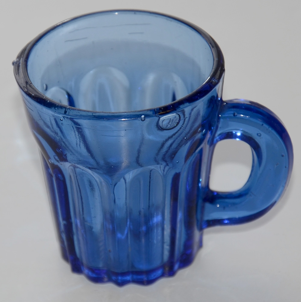 1850'S BLUE SHOT GLASS WITH HANDLE