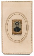 GEM SIZE TINTYPE IN CDV MOUNT ID'D TO 89TH INDIANA SOLDIER