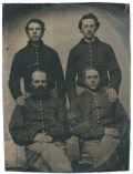 HALF PLATE TINTYPE OF FOUR MEMBERS OF THE 15TH PENNSYLVANIA CAVALRY