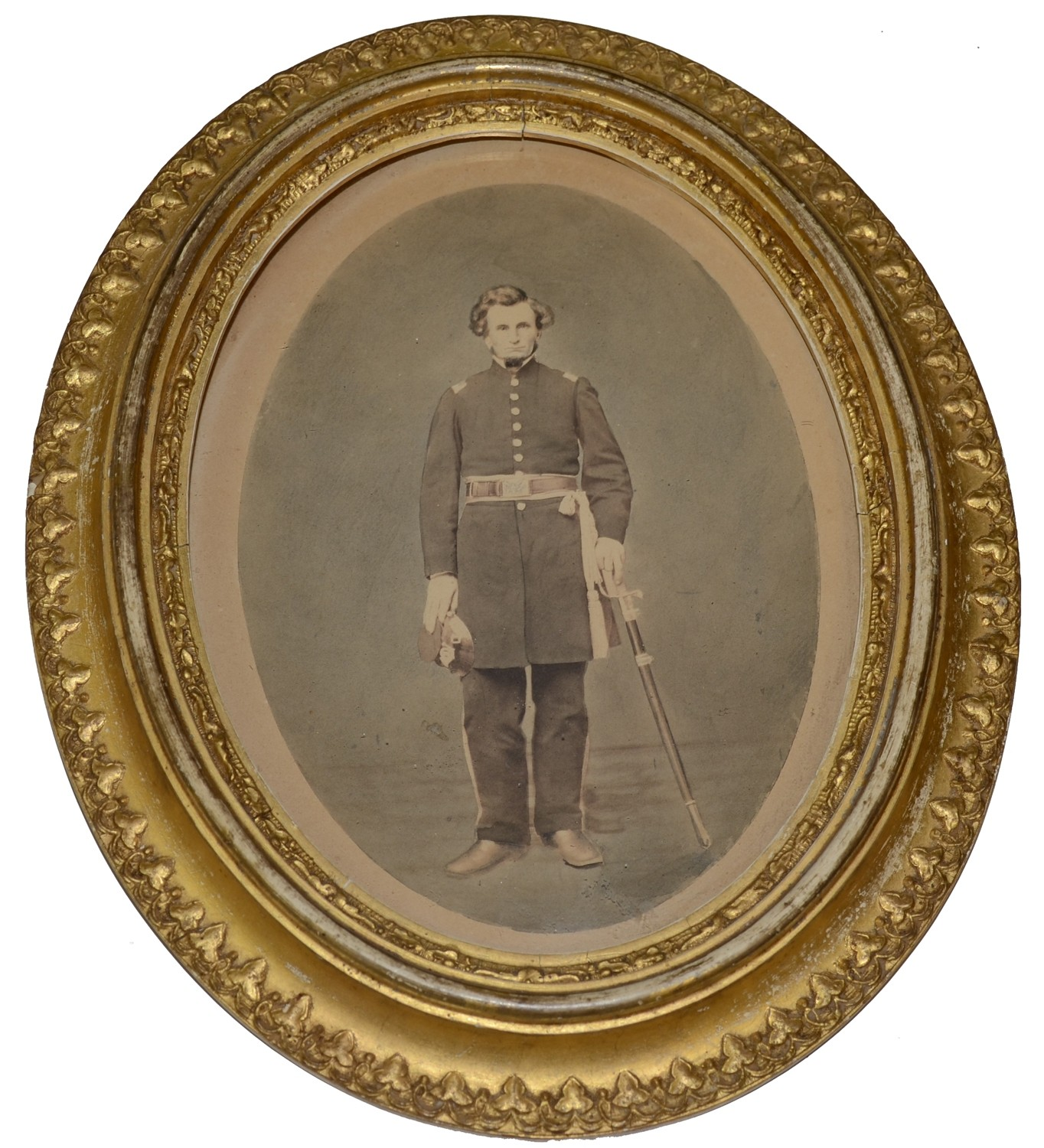 EARLY WAR OVAL FRAMED PHOTO OF INFANTRY LINE OFFICER WITH CAP AND SWORD