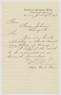 1863 LETTER SIGNED BY A.L. RUSSELL, ADJUTANT GENERAL OF PENNSYLVANIA