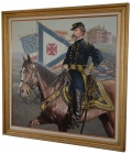 EXCELLENT LARGE, ORIGINAL FRAMED OIL PAINTING OF 20TH MAINE'S JOSHUA LAWRENCE CHAMBERLAIN BY MICHAEL GNATEK