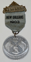 "UNITED CONFEDERATE VETERAN REUNION RIBBON AND BADGE—""NEW ORLEANS 1903."""