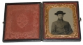 VERY CLEAR SIXTH PLATE TINTYPE OF A CIVIL WAR UNION ARTILLERYMAN