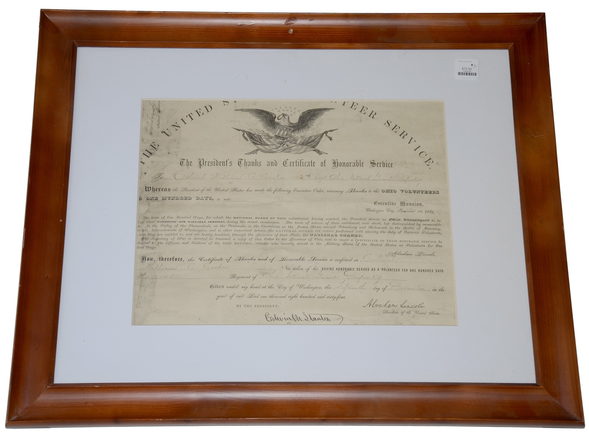 1864 DATED VOLUNTEER SERVICE DOCUMENT FOR 142ND OHIO NATIONAL GUARD COLONEL & CONGRESSMAN