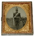 FULL STANDING SIXTH PLATE AMBROTYPE OF EARLY WAR ARMED MILITIA SOLDIER
