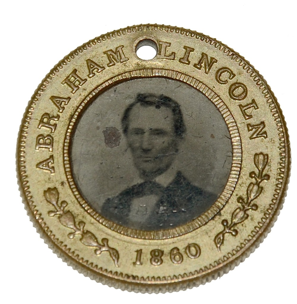 "1860 PRESIDENTIAL CAMPAIGN ""FERROTYPE"" - ABRAHAM LINCOLN/ HANNIBAL HAMBLIN"