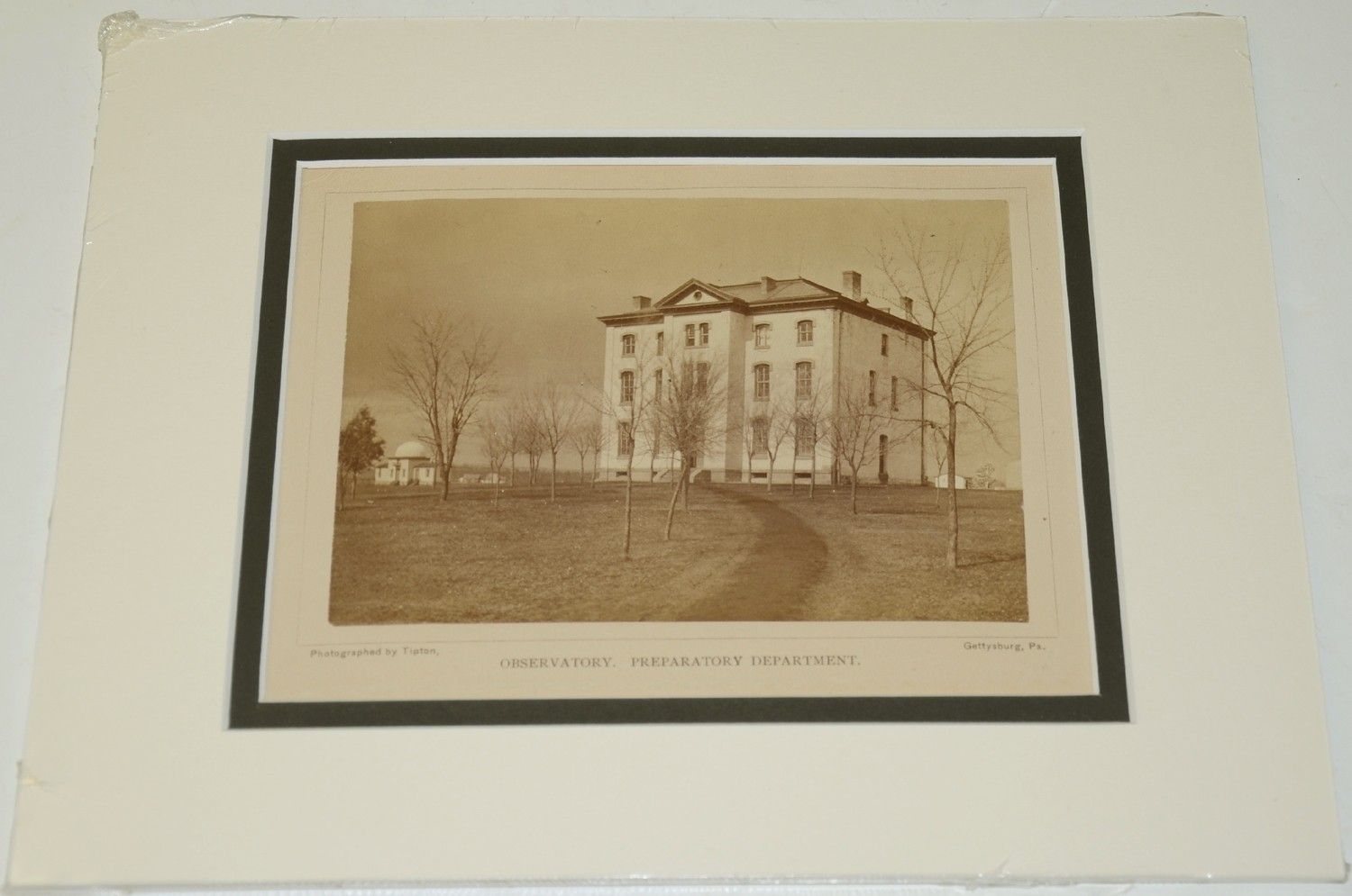 NICELY MATTED PHOTO OF THE OBSERVATORY AND PREPARATORY SCHOOL (NOW STEVENS HALL), GETTYSBURG COLLEGE
