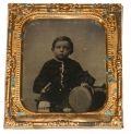 SIXTH PLATE TIN TYPE OF YOUNG BOY HOLDING A CAP & IMAGE