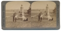 STEREO CARD OF 104th NY MONUMENT & VIEW FROM OAK RIDGE TOWARD COLLEGE