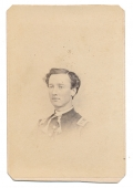 INK SIGNED BUST VIEW CDV OF PENNSYLVANIA OFFICER WHO SERVED IN TWO REGIMENTS