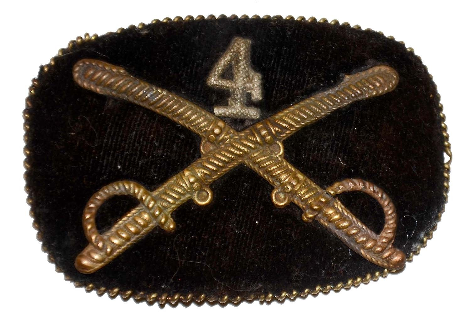 CIVIL WAR CAVALRY OFFICER HAT INSIGNIA — 4TH CAVALRY