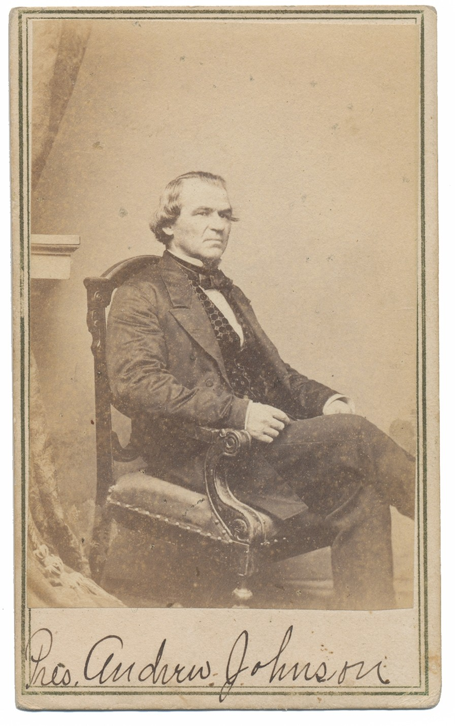 CDV SEATED VIEW OF PRESIDENT ANDREW JOHNSON BY ANTHONY
