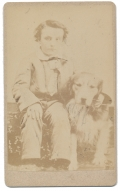 CDV OF A YOUNG BOY WITH A DOG