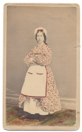FULL STANDING CDV OF A WOMAN IN A HAND COLORED DRESS - BUFFALO, NEW YORK