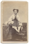 CDV – YOUNG GIRL WITH WHITE DOG