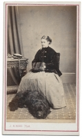 CDV YOUNG LADY WITH DOG