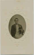 CDV 1/16 PLATE TINTYPE IN A CDV MOUNT – MAN WITH A DOG
