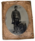 QUARTER-PLATE TINTYPE OF AMBULANCE CORPS SOLDIER