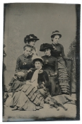 TINTYPE – GROUP OF LADIES WITH A DOG