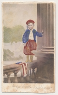 COLORED CDV OF A PATRIOTIC BOY