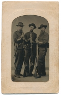 TINTYPE IN CDV MOUNT FEATURING THREE FULL LENGTH STANDING ARMED OFFICERS