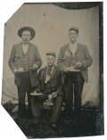 1/8TH TINTYPE PLATE - UNIDENTIFIED GAR REUNION TRIO, CIRCA MID-TO-LATE 1890'S