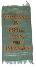 REUNION RIBBON FOR COMPANY K, 88TH PENNSYLVANIA INFANTRY